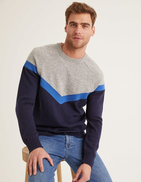 Lockton Crew Neck - Navy Chevron