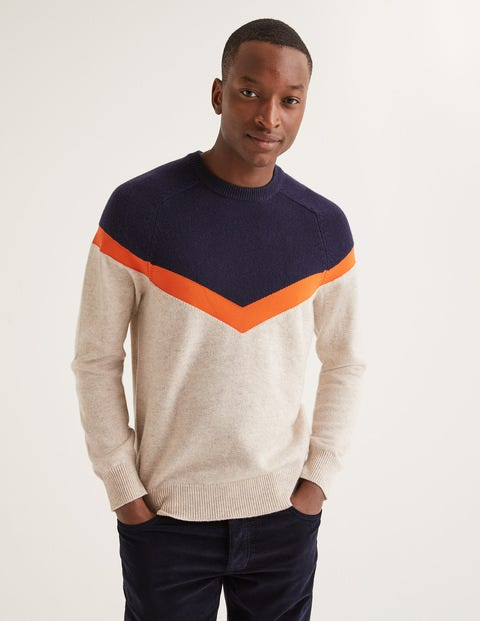 Lockton Crew Neck - Oatmeal Chevron