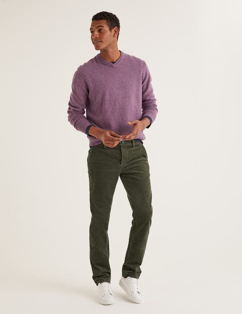 Straight Leg Cord Pants - Dark Olive