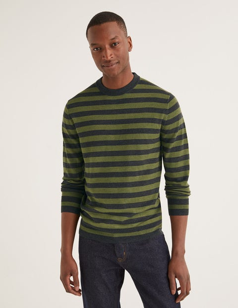Amberley Merino Crew - Laurel Wreath Stripe