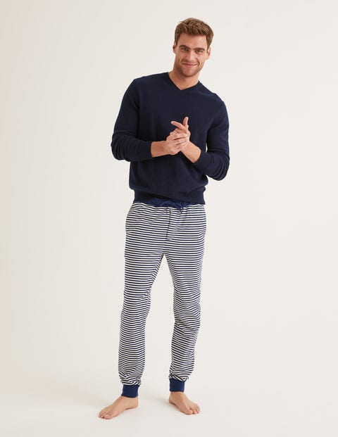 Lounge Trouser - Navy Blue/Ecru Stripe