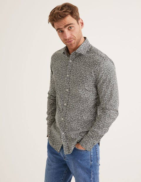 Slim Fit Printed Twill Shirt - Richmond Green Woodland Floral
