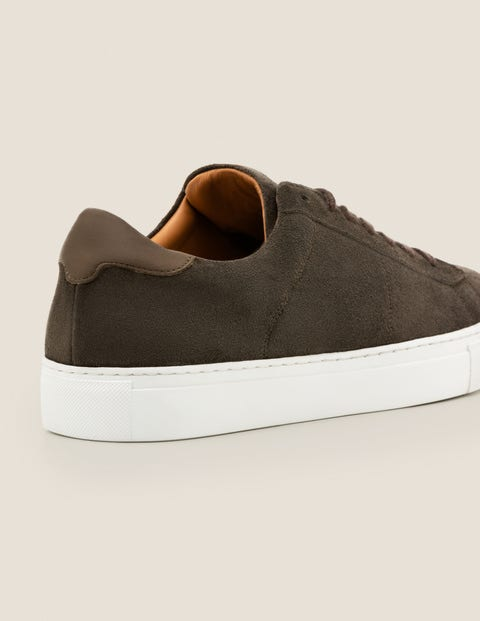 Leather Trainers - Khaki Suede | Boden UK