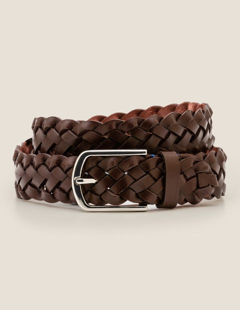 Leather Plaited Belt - Brown