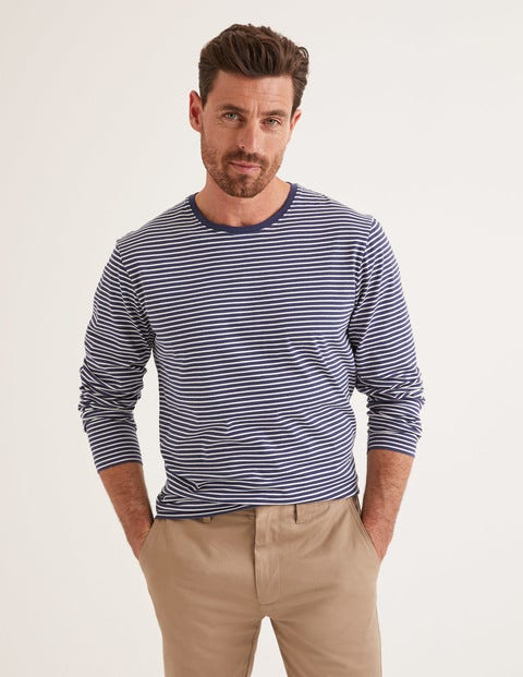 Long Sleeve Washed T-Shirt - Navy/Ivory Stripe