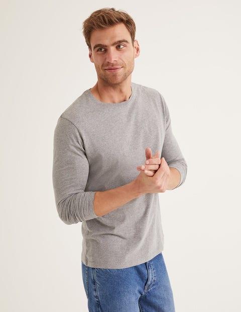 Langärmliges Vorgewaschenes Shirt - Grau Meliert
