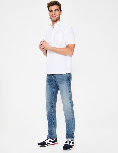 Slim Leg Jeans - Heavy Wash Denim
