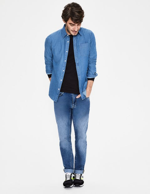 Slim Fit Denim Shirt - Washed Denim
