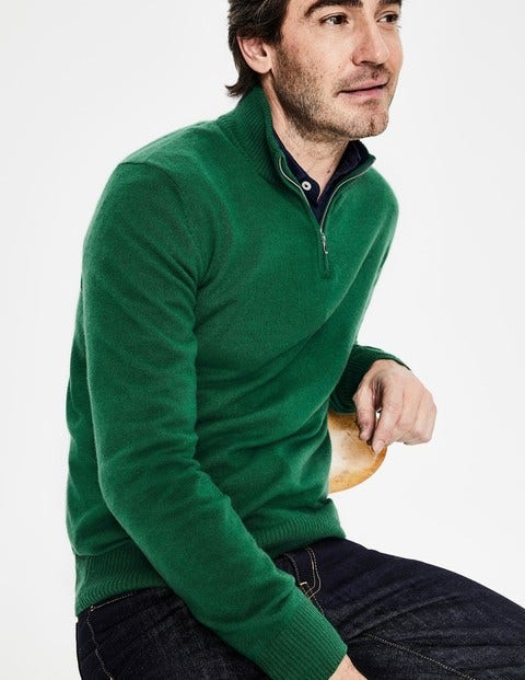 Cashmere Half-Zip - Hillside Green