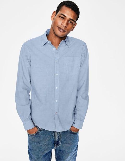 Poplin Cutaway Collar Shirt - Blue End on End