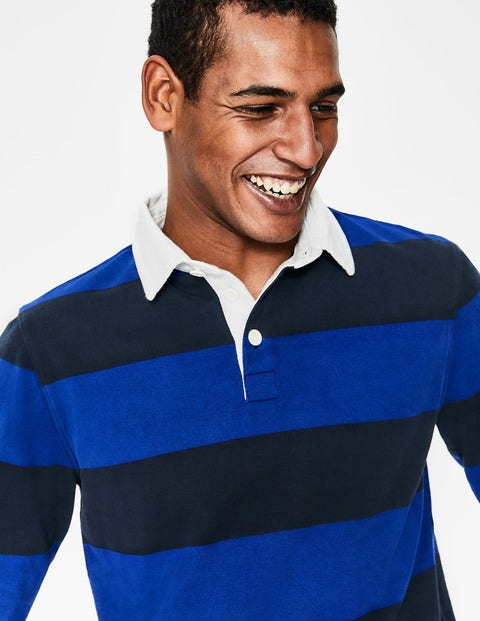 Birkett Rugby Shirt - Navy/Blue Wave Stripe