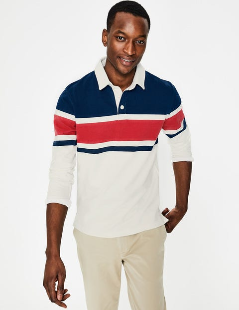 Rugby Shirt - Washed Crimson Multi Stripe