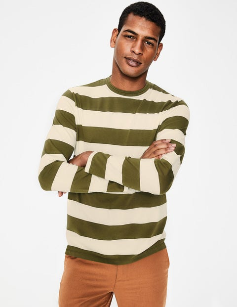 Long Sleeve Stripe T-Shirt - Ecru/Kiwi Green Stripe