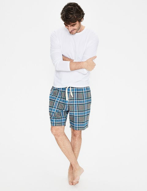 Brushed Cotton Pajama Shorts - Grey Marl/Green Check