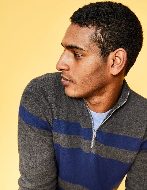 Milano Half-Zip - Charcoal/Blue Stripe