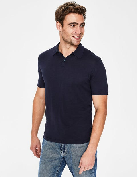 Finsbury Knitted Polo - Navy