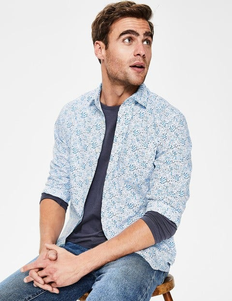 Poplin Pattern Shirt - Blues Ditsy Floral