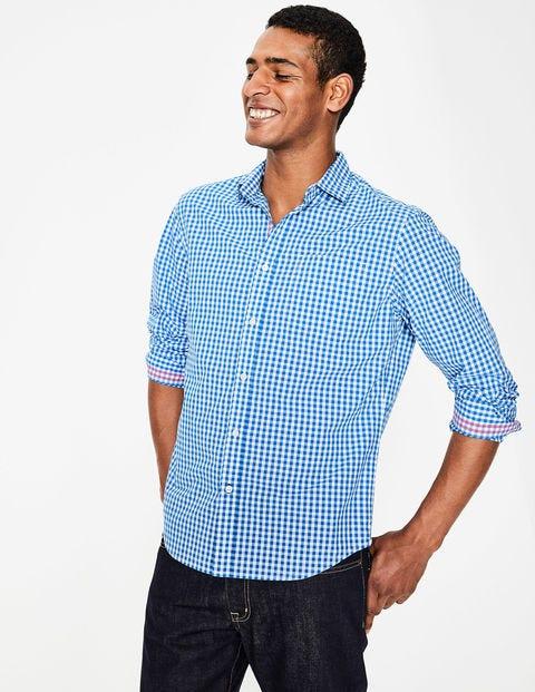 Poplin Pattern Shirt - Electric Blue Gingham