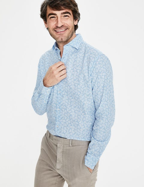 Linen Cotton Pattern Shirt - Ice Blue Floral