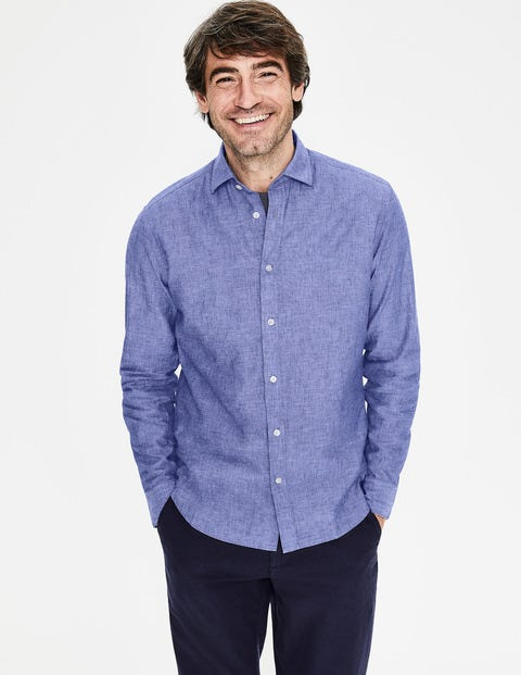 Linen Cotton Shirt - Blue Wave Chambray