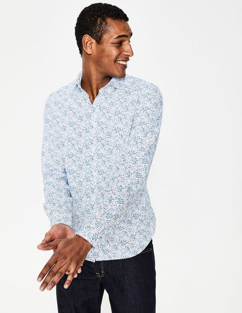 Slim Fit Poplin Pattern Shirt - Blues Ditsy Floral