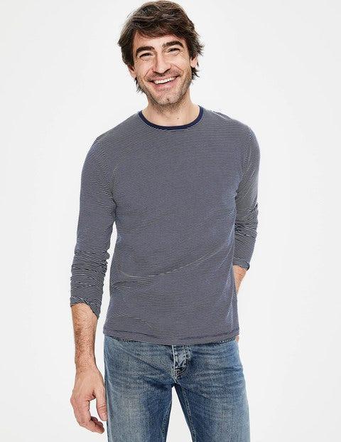 Long Sleeve Washed T-Shirt - Light Navy Stripe