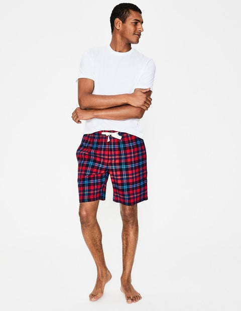 Brushed Cotton Lounge Shorts - Engine Red Multi Check