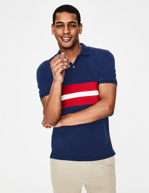 Piqué Polo - Navy Multi Stripe