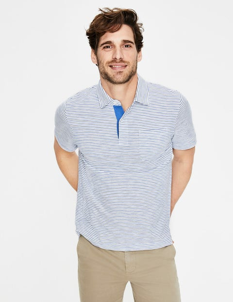 Slub Polo - Snowdrop/Surf Blue Stripe