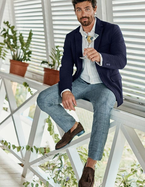 Clovelly Linen Pants - Blues Prince of Wales