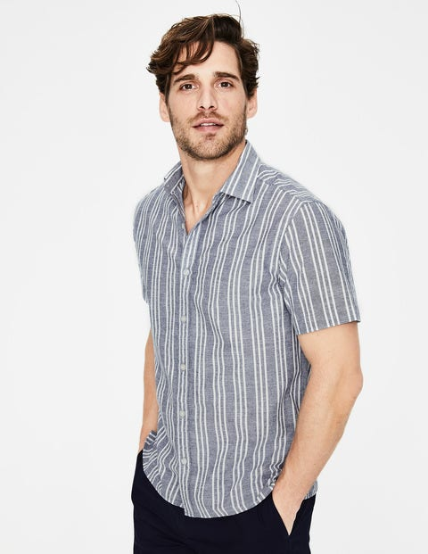 Ashburton Short Sleeved Shirt - Navy Blue Stripe