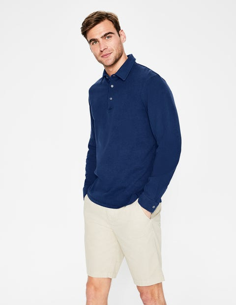 Long Sleeve Garment-Dyed Polo - College Blue