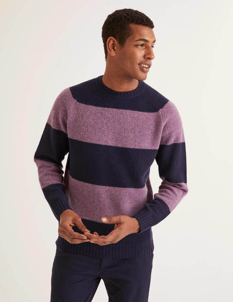 Aldgate Brushed Crew Neck - Purple Stripe