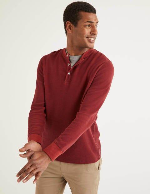 T-Shirt Gaufré À Manches Longues Henley - Mûrier/rouge automnal