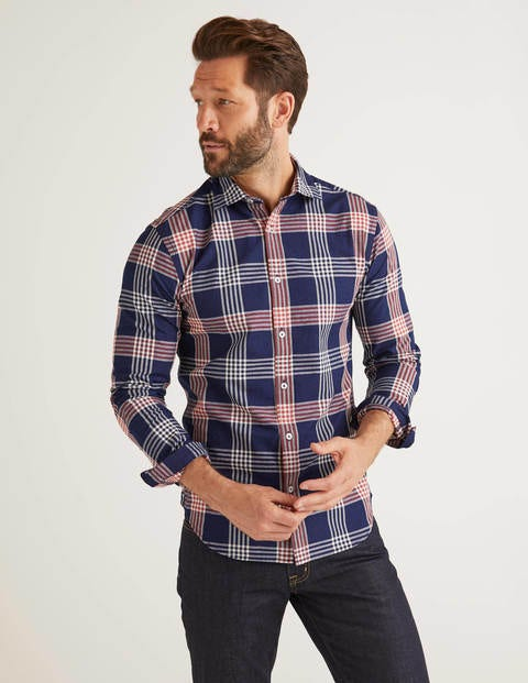 Slim Fit Indigo Check Shirt
