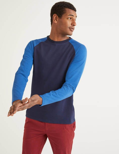 Long Sleeve Raglan T-Shirt - Blues Multi