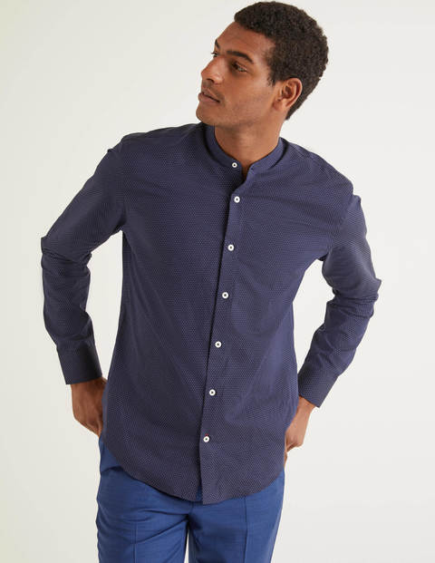 Slim Fit Grandad Dobby Shirt - Navy