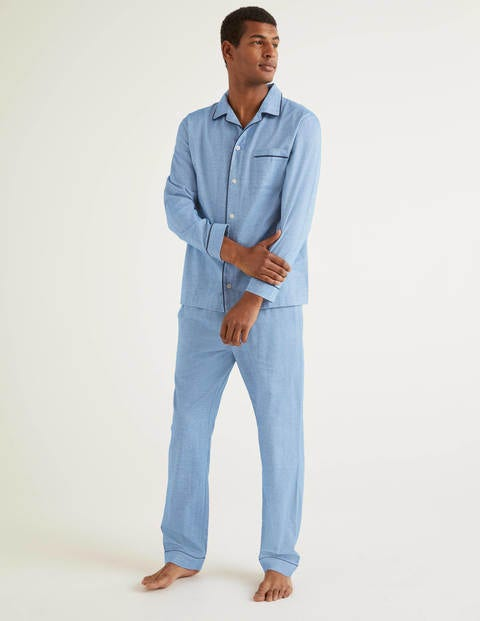 Brushed Cotton Pyjama Set - Sapphire Herringbone