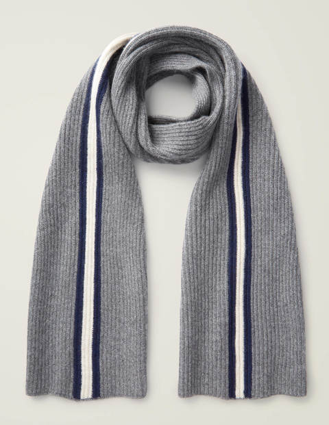 Cashmere Knitted Scarf - Grey Marl