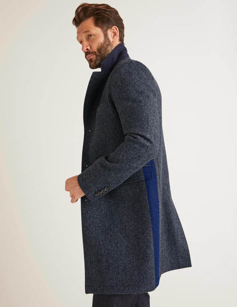 Coleshill Tweed Overcoat - Blue Herringbone