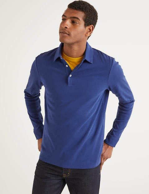Long Sleeve Polo - Space Blue