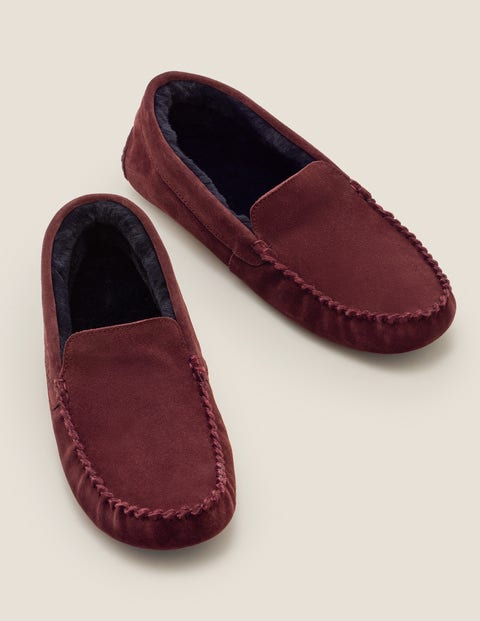 Moccassin Slippers - Oxblood Suede