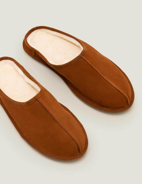 Slip-on Slippers - Tan Suede