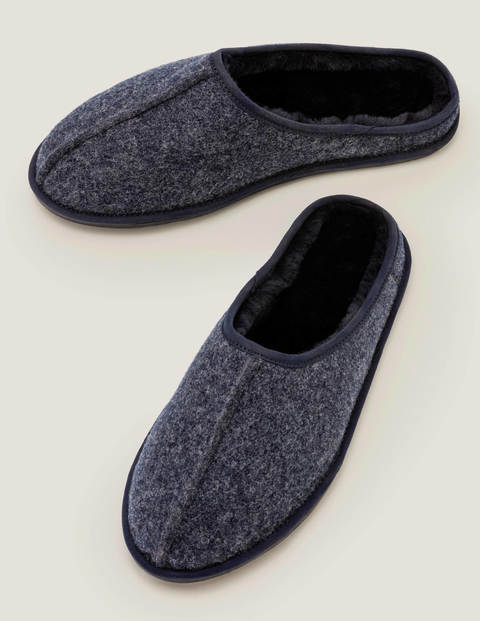 Slip-On Slippers - Navy Felt