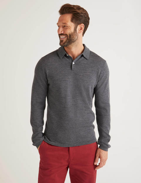 Amberley Knitted Polo - Charcoal Marl