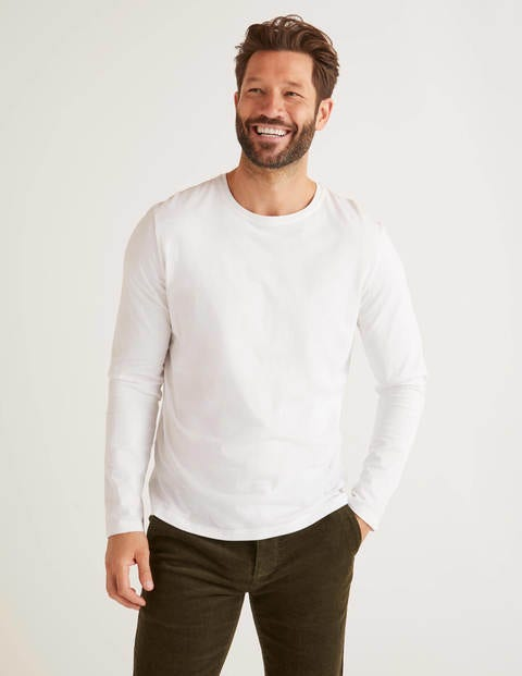 Long Sleeve Washed T-Shirt - White
