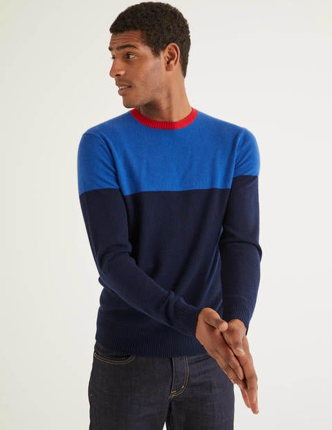 Cashmere Crew Neck - Blues Colourblock