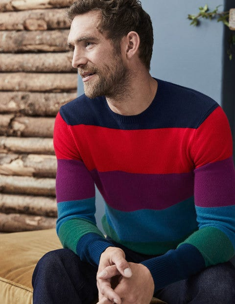 Cashmere Crew Neck - Rainbow Stripe