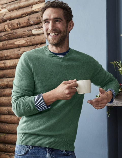 Cashmere V-Neck - Laurel Green