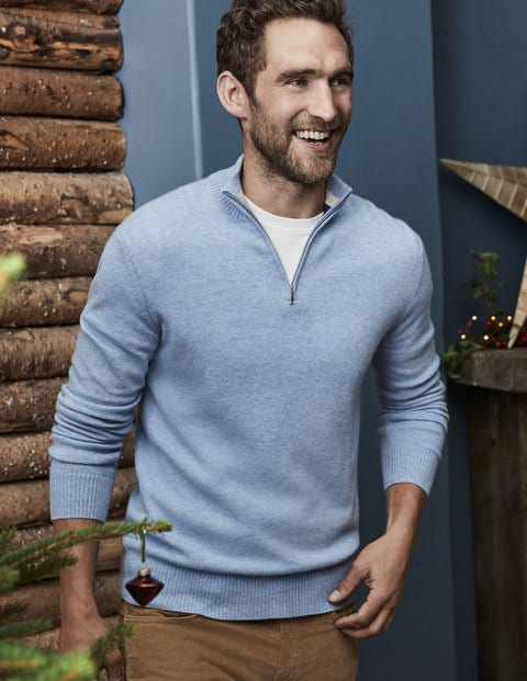 Cashmere Half-Zip - Ice Blue Heather